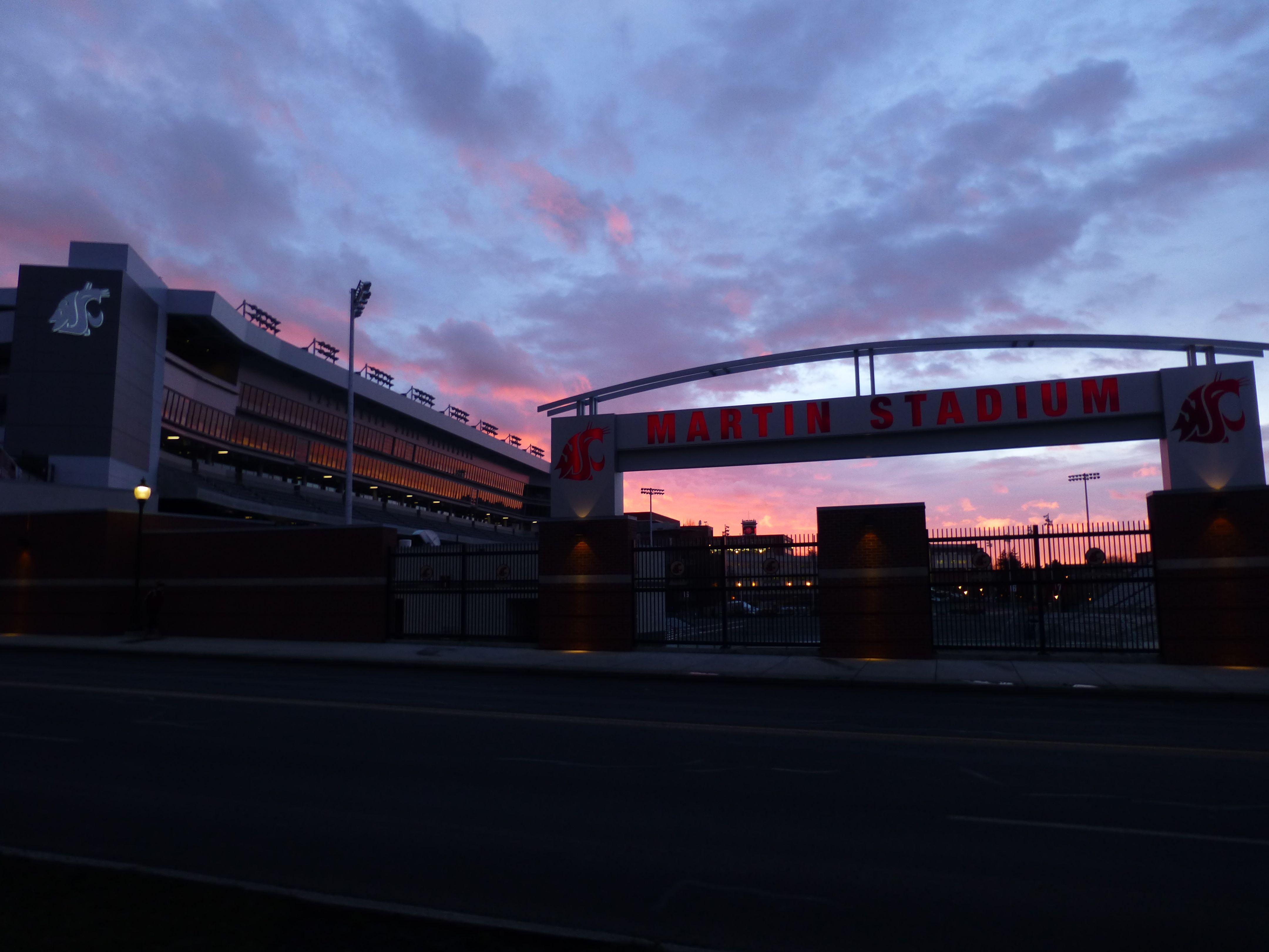 Sunset at Martin Stadium, Feb. 25, 2013. Go Cougs!