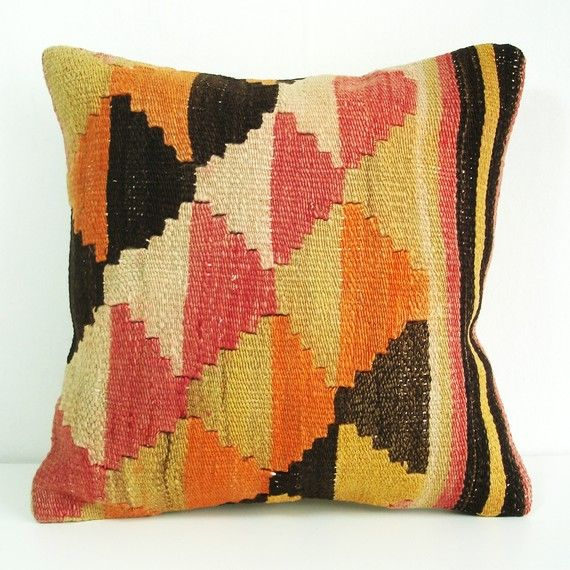 One Of Many Very Cool Hand Embroidered Antique Wool Rug Cushions