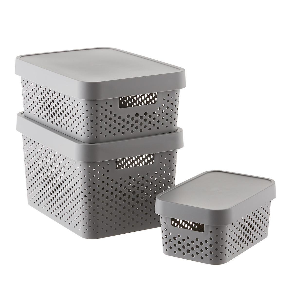 Curver Grey Infinity Plastic Storage Boxes With Lids Plastic Box