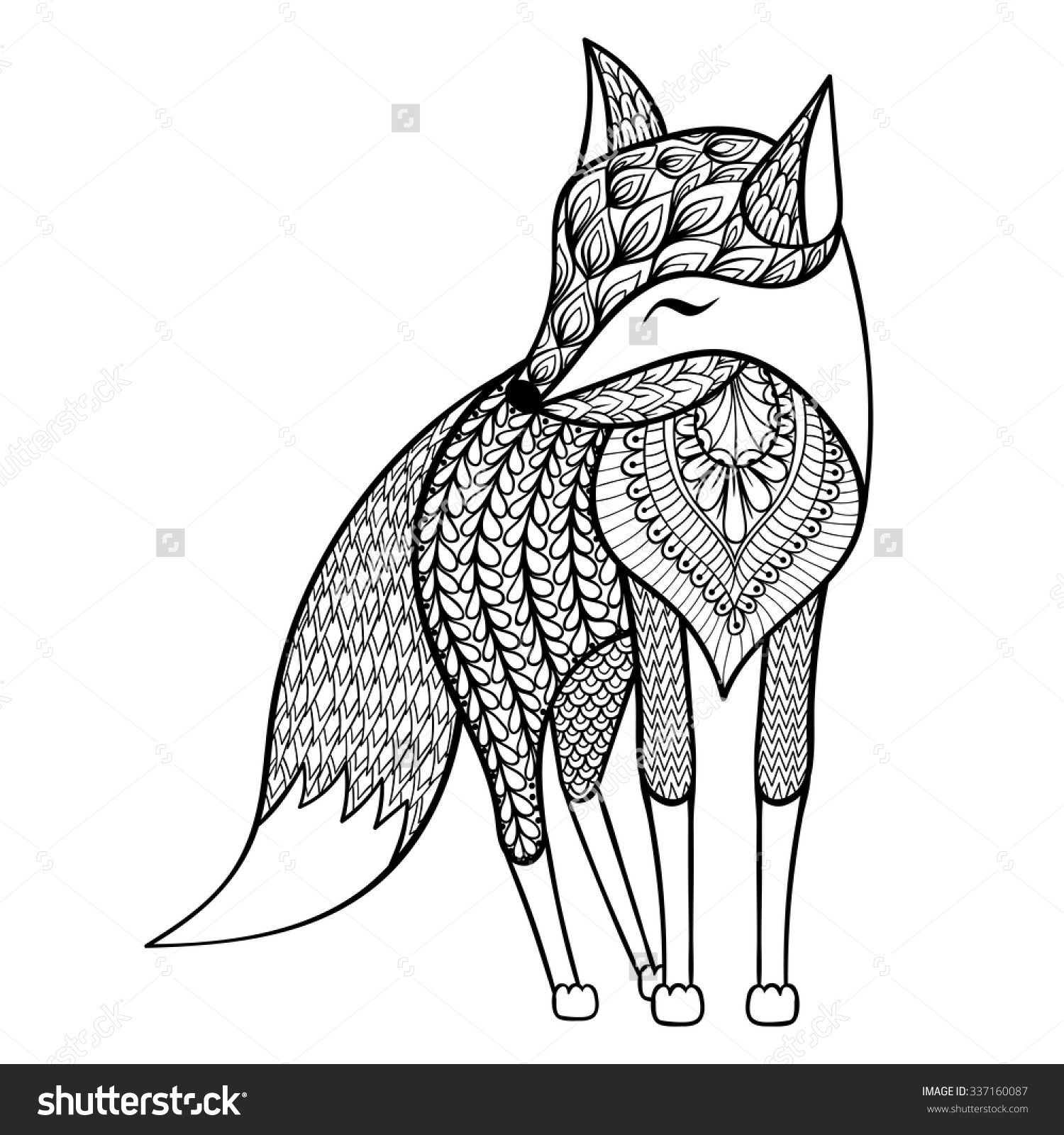 Zentangle Vector Happy Fox For Adult Anti Stress Coloring Pages Ornamental Tribal Patterned
