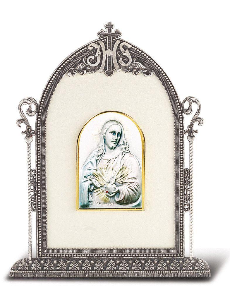 Salerni Sacred Heart of Jesus Sterling Silver Image w/Antique ...