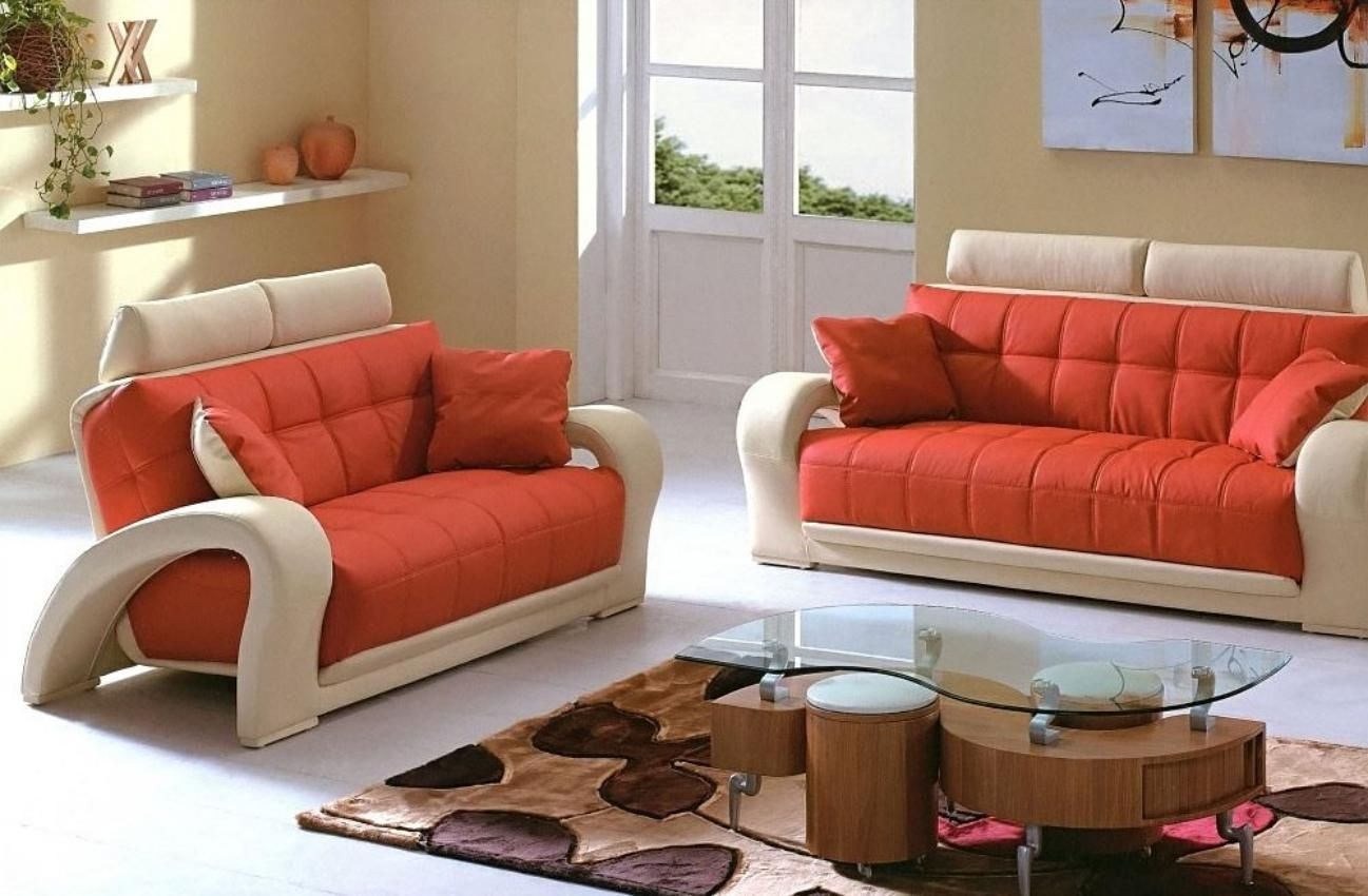 Casual Trendy Sofa With Orange And Mild White Colour For