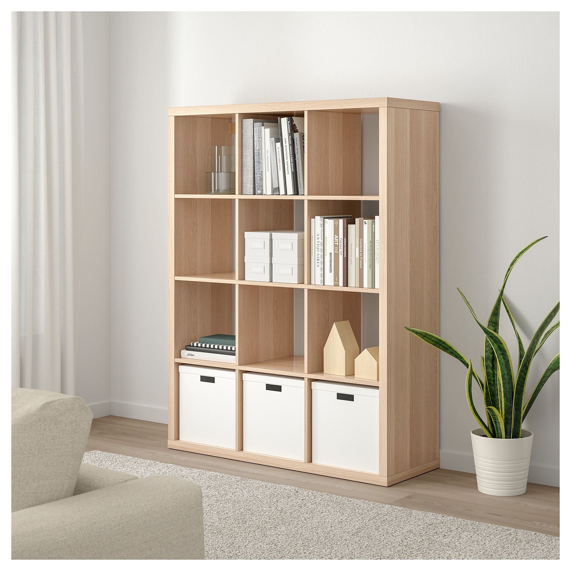 KALLAX Shelving unit white stained oak effect white