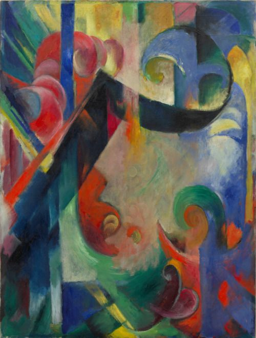 "expressionism-art:  "" Broken Forms by Franz Marc by Guggenheim Museum  Size: 111.8x84.4 cm  Medium: Oil on canvasSolomon R. Guggenheim Museum, New York  """