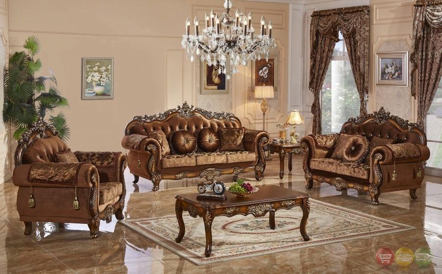 traditional style formal living room furniture brown sofa set carved wood frames