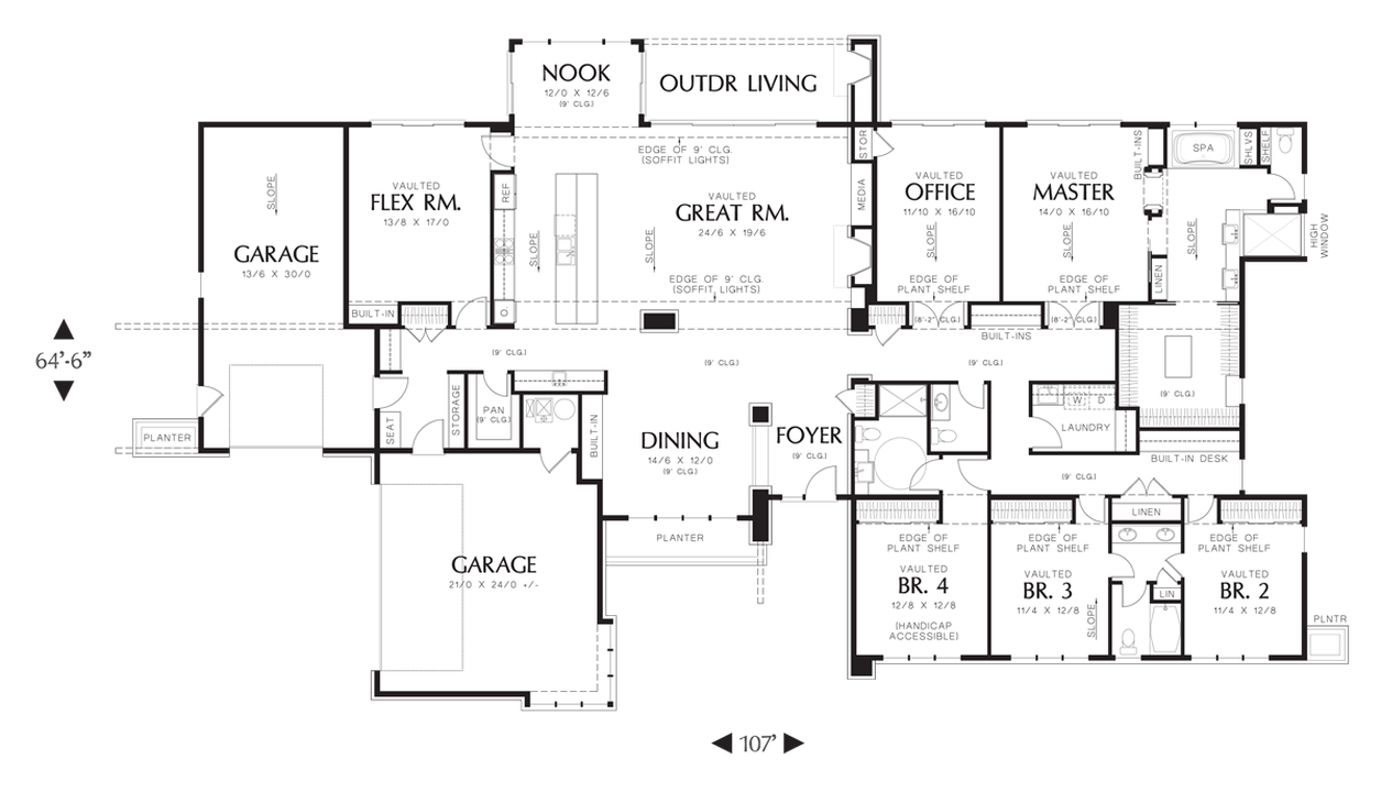 Mascord House Plan 1333 The Broadway Modern Style House Plans Modern Contemporary House Plans Contemporary House Plans