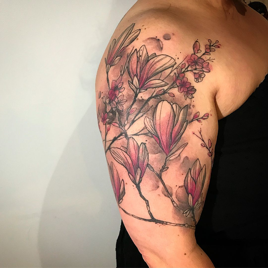 Went Subtle Line Work Healed Few Months Light Pinks And Magenta And Light Background Shading Is New Let Me Kno Tattoo Shading Tattoo Background Light Tattoo