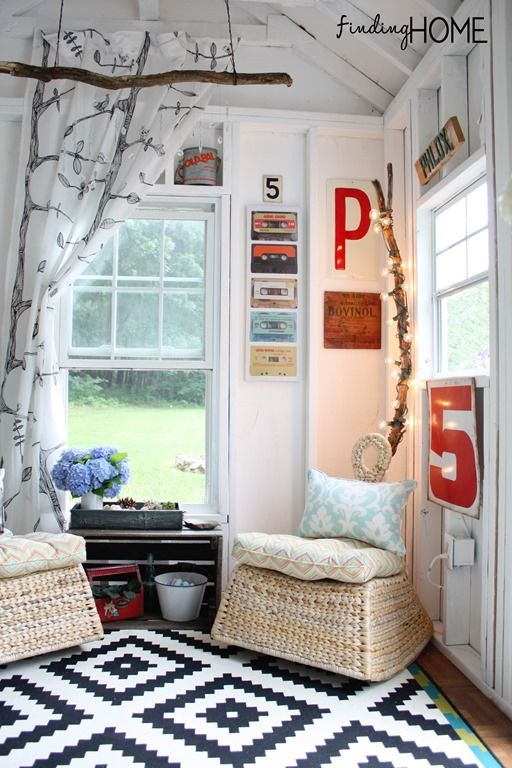 playhouse child friendly interior surfaces | Decorating Our DIY Playhouse & Pool House For Our Teens ...