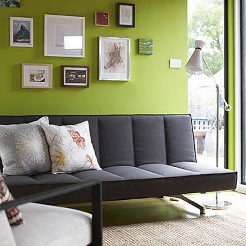 Gray Couch Green Living Room Ahhh To Be Able Paint A Wall Bright Colour One Day Le Siiiigh