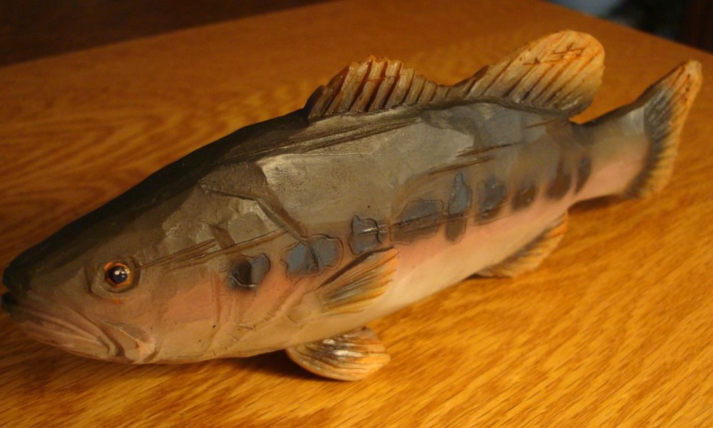 Large Faux Wood Carved Fish Trout Fisherman Cabin Home Fishing Decor Figurine B Rusticprimitive