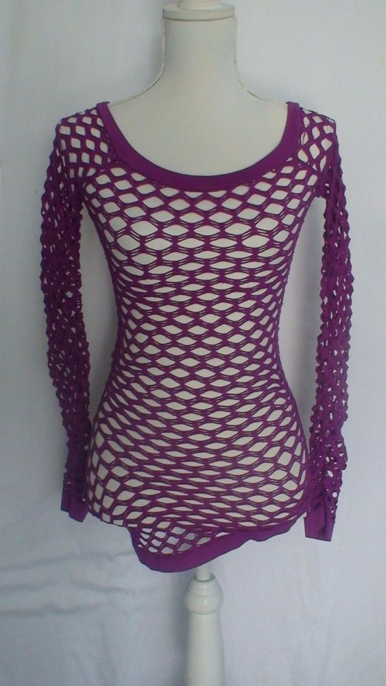 Soho Lady Stretch Fishnet Purple Blouse Size One Size #SohoLady #Blouse