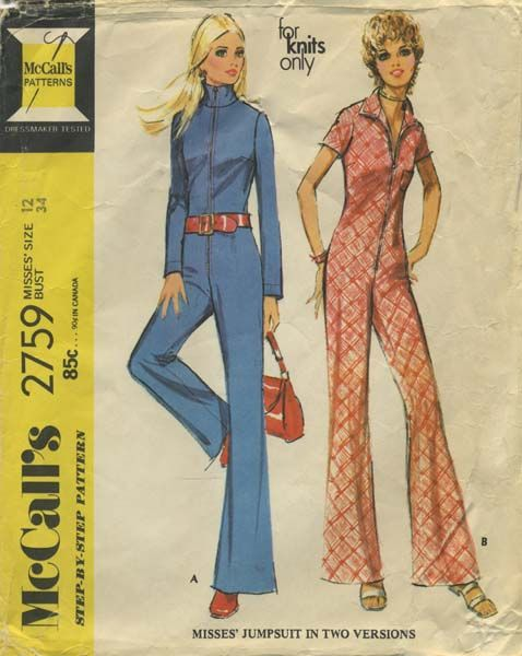 Vintage Jumpsuit Sewing Pattern Mccall S 2759 Year 1971 Bust