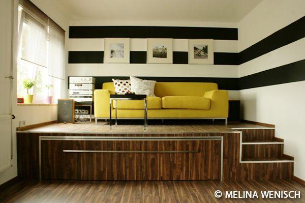 1Zimmer-Wohnung Ideen rund um das Haus Podest, Bett und