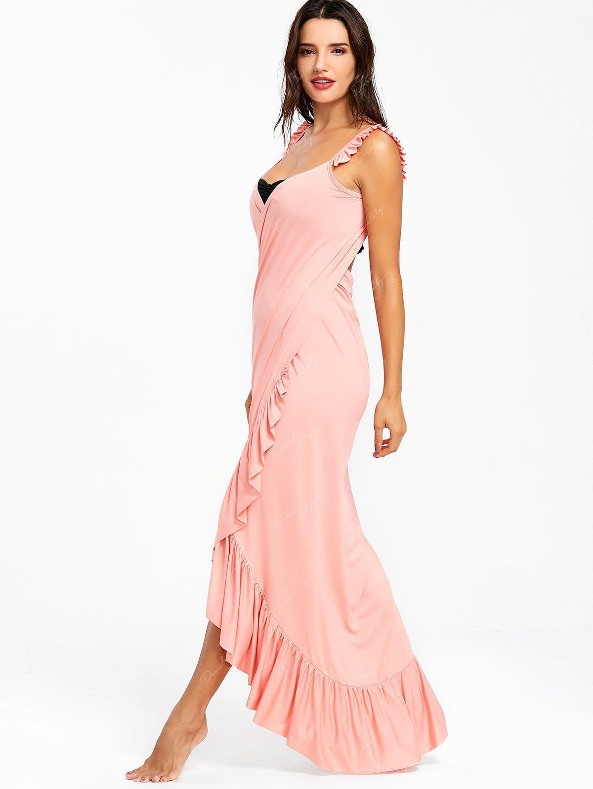 c81196b49c Wrap Flounce Beach Cover Up Dress - LIGHT PINK XL | Dikiş | Dresses ...