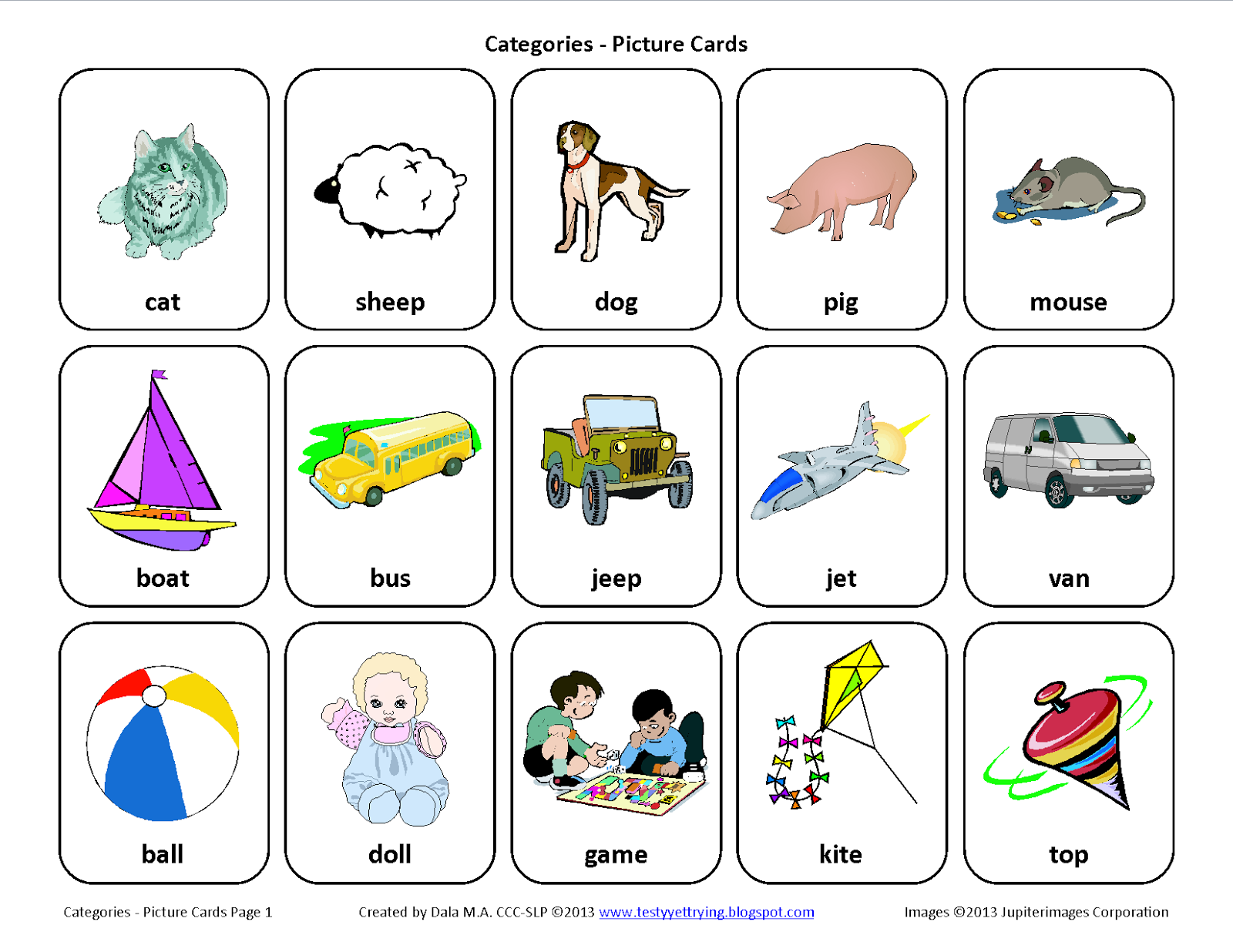 Sorting By Category Free Speech Therapy Picture Cards