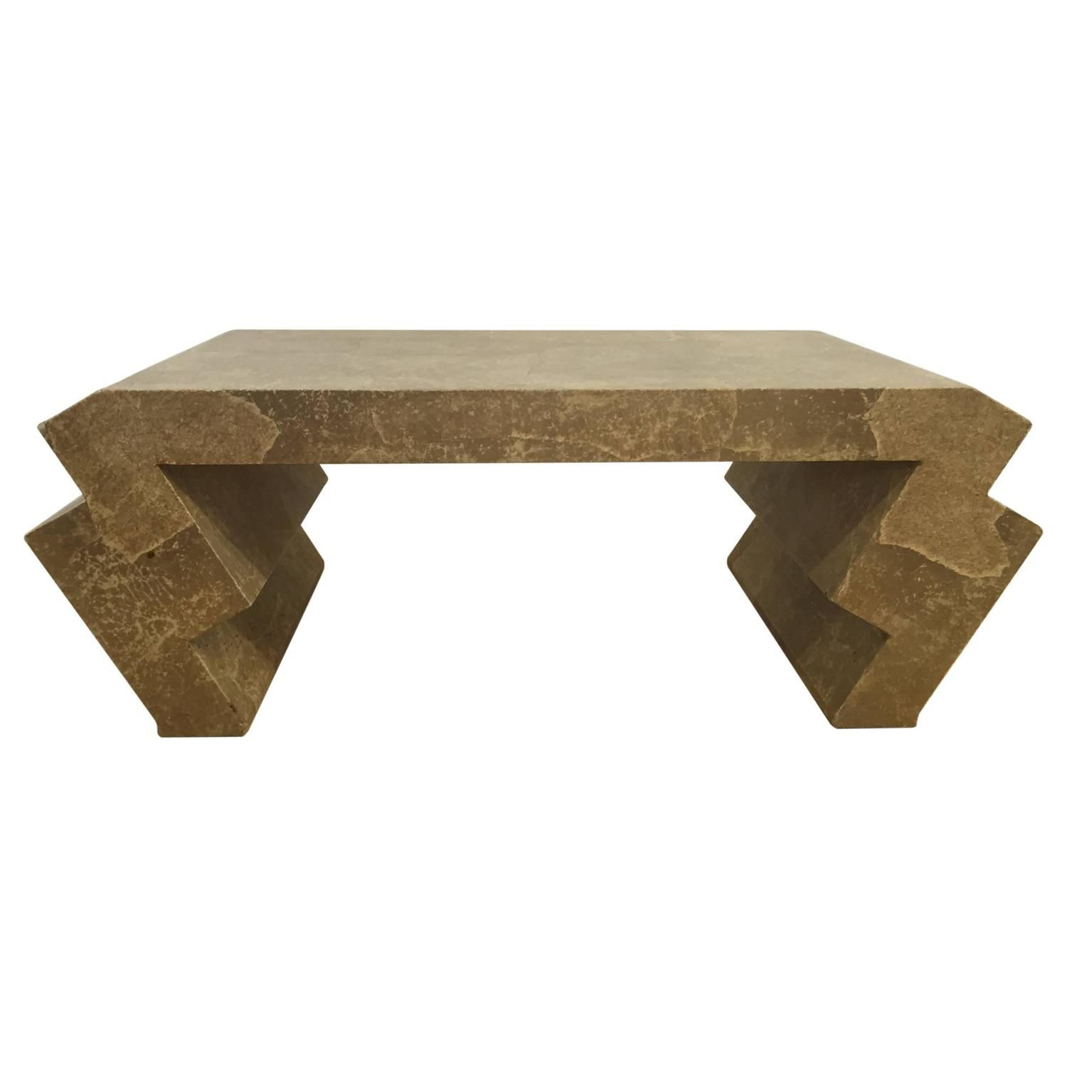 goatskin coffee table with zig zag legs attributed to karl springer