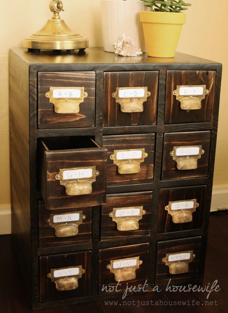 DIY: How to Build your own library card catalog table || www ...