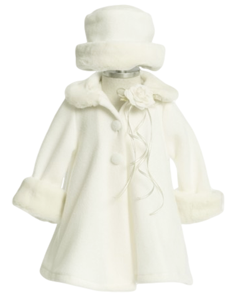 5850c2b07 ... Girl's Ivory Fleece and Fur Trim A-Line Dress Coat with Three Covered  Buttons, Satin Lining, Fur Collar & Cuffs, Removable Flower Pin and Matching  Hat.