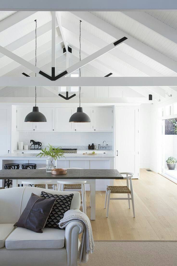 Open kitchen dining lounge pinteres for Exposed roof trusses images
