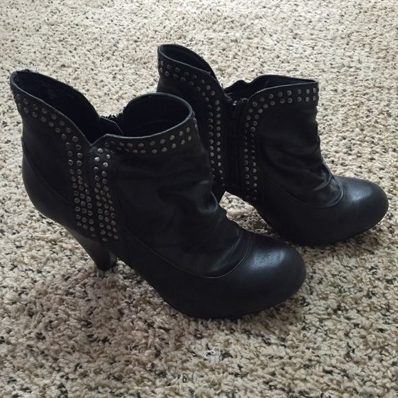 Black studded ankle boots Adorable black studded Fergalicious ankle boots. Zipper on the side. Worn once. Excellent condition. Fergalicious Shoes Ankle Boots & Booties