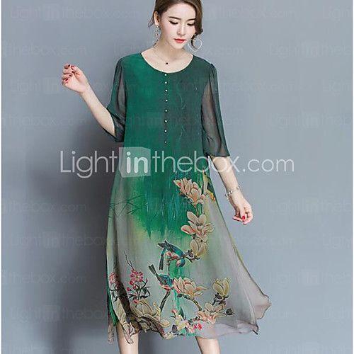 Signo de seda vestido de gama alta de primavera nuevas mujeres grandes yardas sueltas 100% vestido de seda de impresión era delgada 2017 - R$49.67