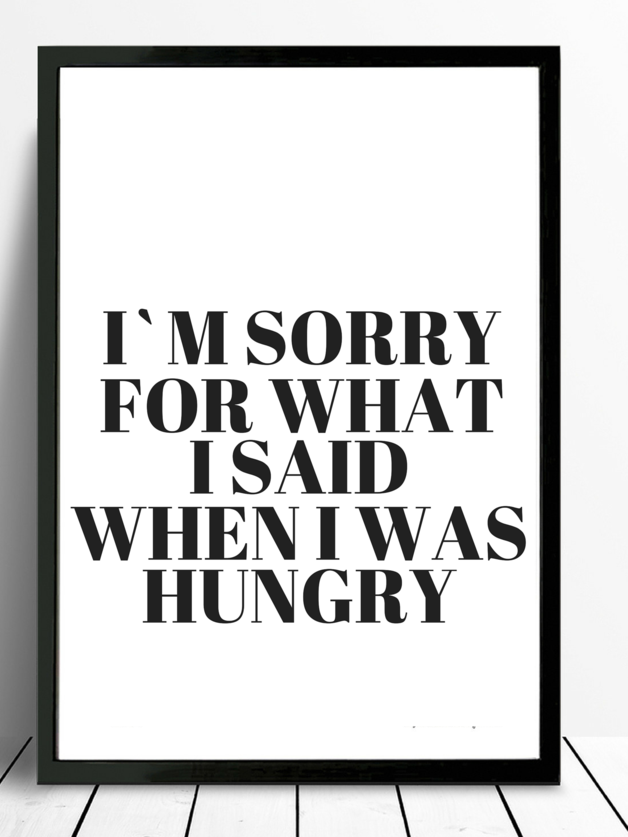 poster-typo print kÜche hunger | mottos, wisdom and true words - Poster Für Die Küche