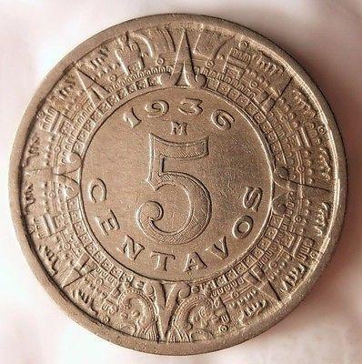 Calendario 1936.1936 Mexico 5 Centavos Mayan Calendar Great Coin Free