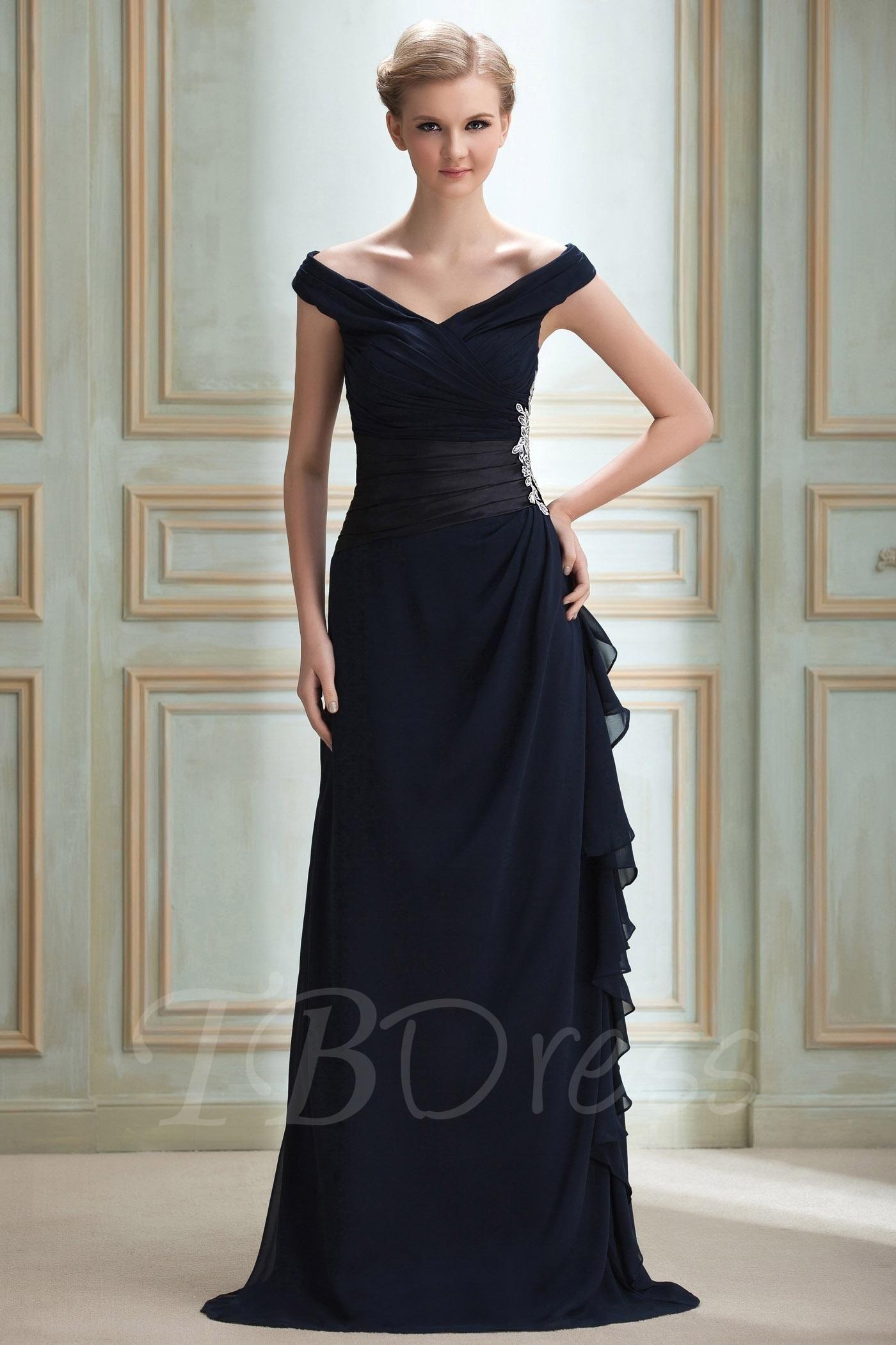 Ruched Sheath/Column Off-The-Shoulder Appliques Long Prom Dress ...