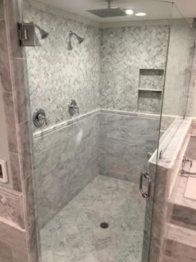 Emerald City Tile And Stone Llc Shower In Carrara Marble 6 X 12 Set In Running Bond Pattern Transitioned By Ca Chair Rail Master Bathroom Herringbone Pattern
