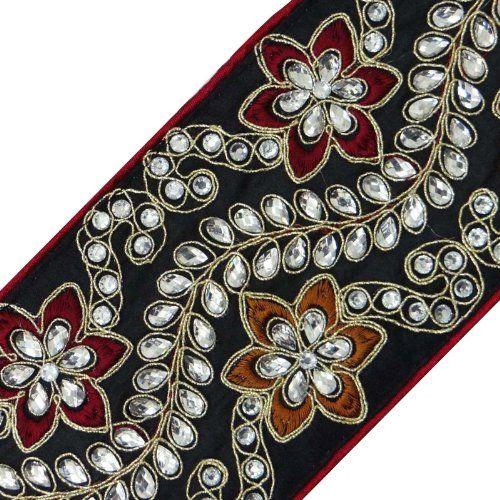 Black Trim Handmade Stone Work Sewing Lace Sari Apparel Border Tape 1 Yard ibaexports http://www.amazon.com/dp/B00I4SQIHE/ref=cm_sw_r_pi_dp_sR5Nwb1BXDB5S