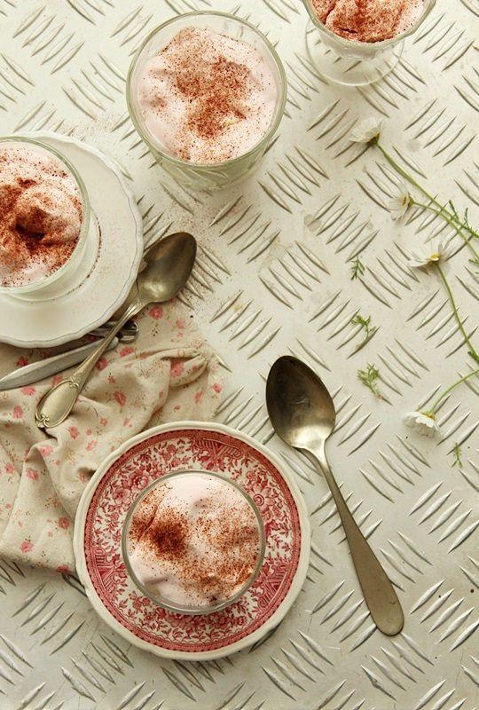 strawberry dessert in a jar