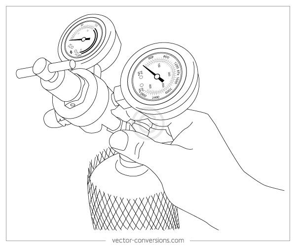 Vector line drawing of regulator for technical manual