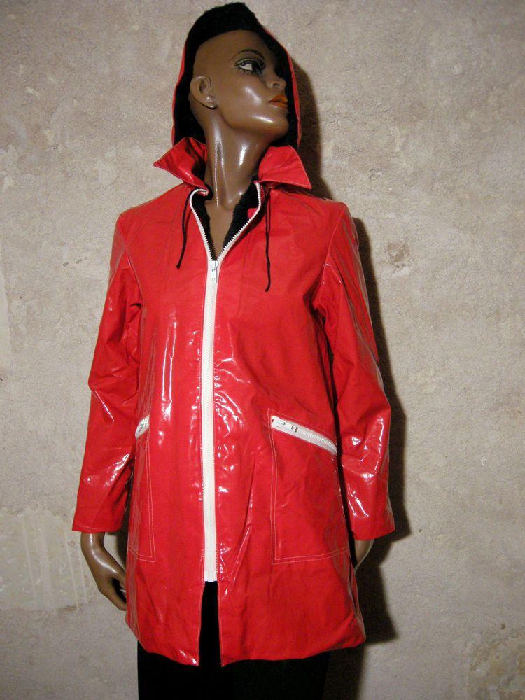 Vinyl Vintage Imper Chic 1970 Ciré Skai True Vtg Raincoat TJc13uFlK