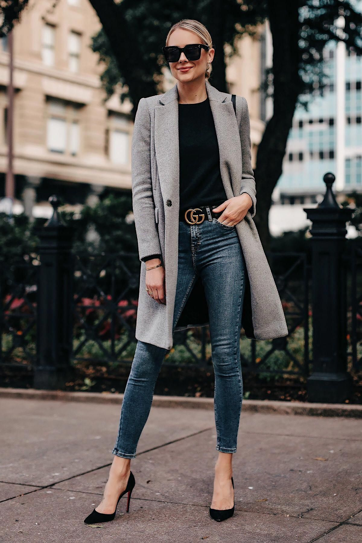 Blonde Woman Wearing Zara Grey Wool Coat Black Sweater Denim