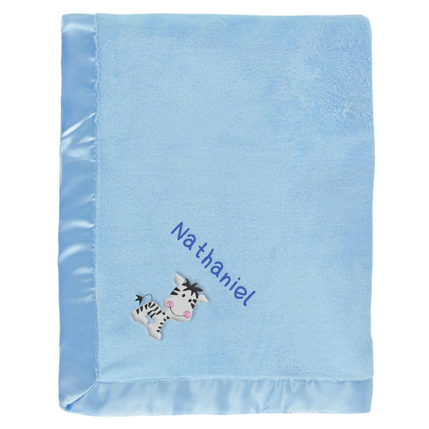 #Nathaniel baby boy blanket in blue with a little Zebra. The name Nathaniel is personalized with unique embroidery in a custom design, perfect as a newborn #baby shower gift.  https://www.babyblankets.com/use/crib/blue-baby-blanket?utm_source=pinterest&utm_medium=pin&utm_campaign=boy_name