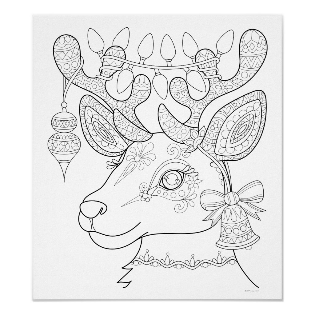 Christmas Reindeer Coloring Poster , Colorable Art