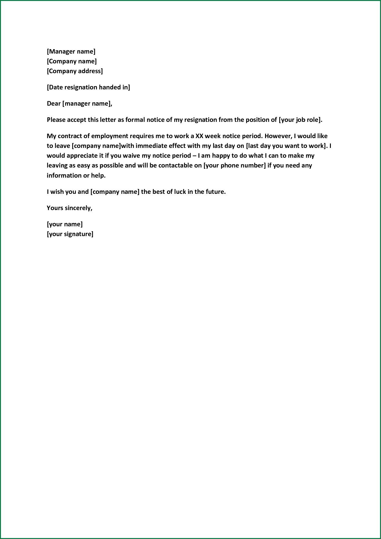 Formal Resignation Letter Sample With Notice Period from i.pinimg.com