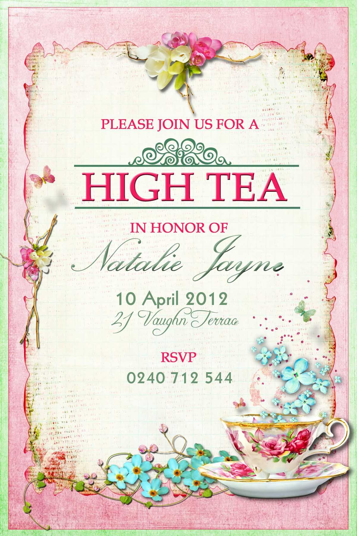 Kitchen Tea Party Invitation Victorian High Tea Party Invitations Surprise Party Invitation