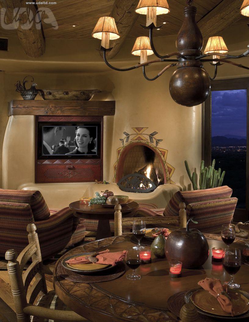 Arizona Home Design Idea Center: Organic Pueblo Adobe Fireplace, Southwest Fireplace