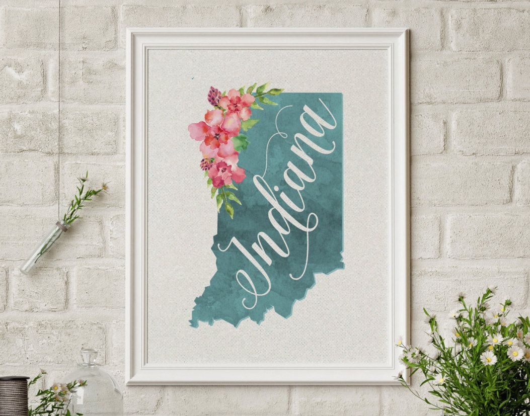 Indiana Hoosiers Map Floral Watercolor Art Wall Decor