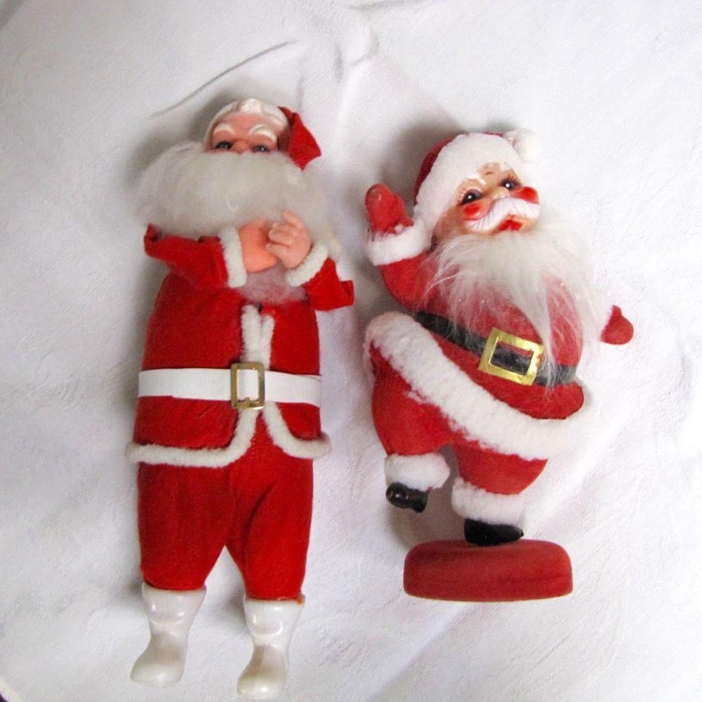 Vintage Felt Plastic Dancing Santa On Stand Standing Santa Figure Japan Unbranded Santa Claus Figure Vintage Santa Claus Christmas Figurines