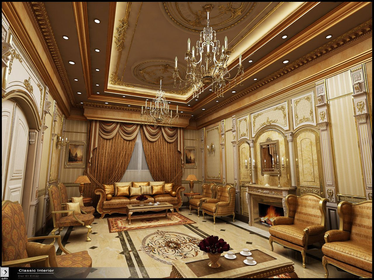 Classic interior in ksa by amr on for Classic interior design