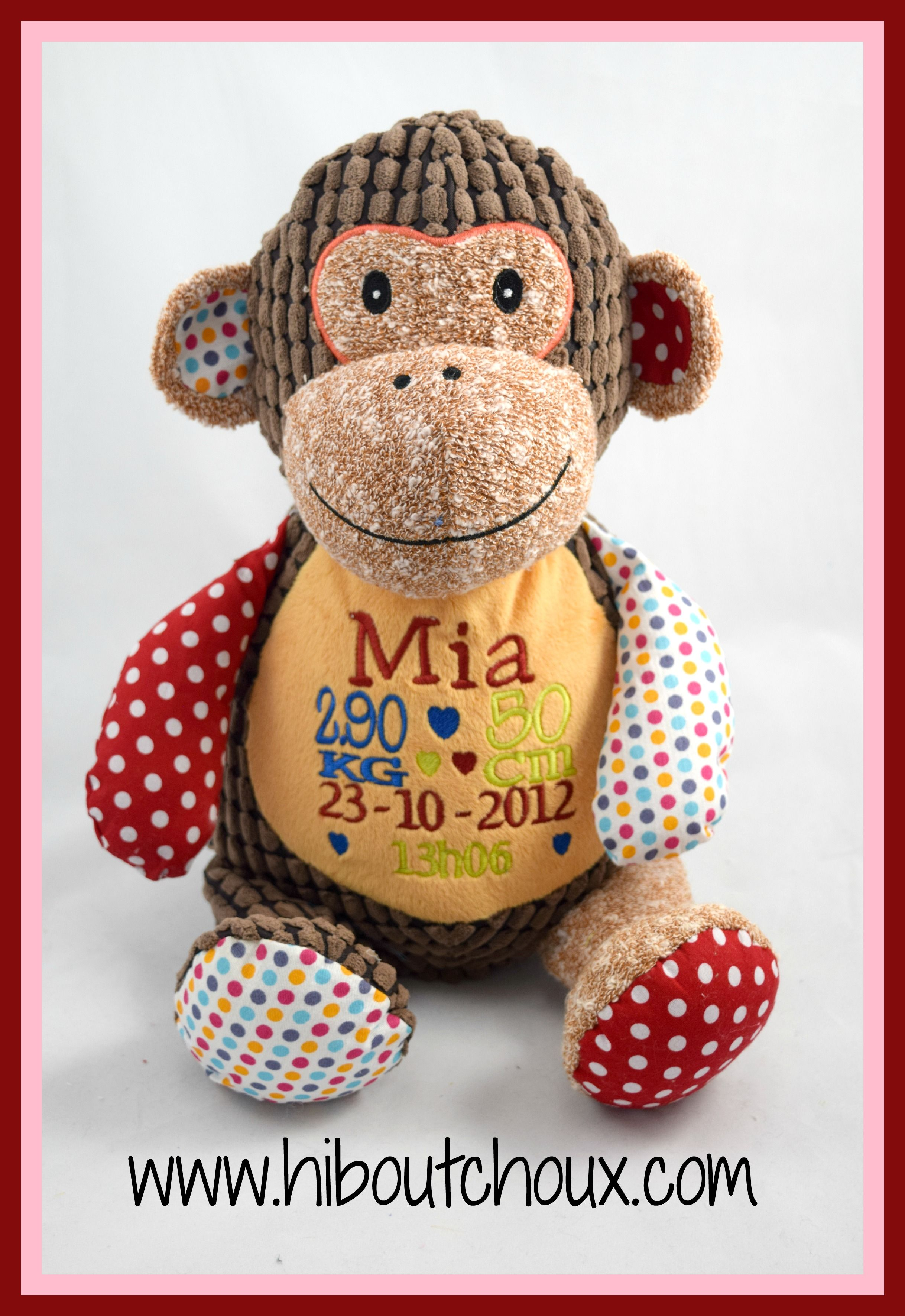 Personalized stuffed animal. Birth details. Toutou