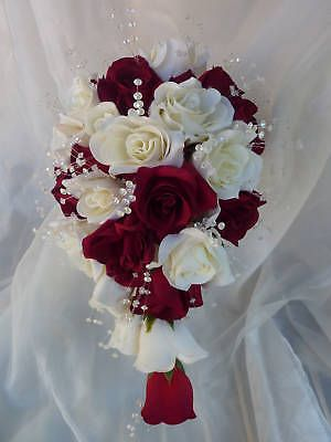 WEDDING-FLOWER-RED-IVORY-ROSE-CRYSTAL-SHOWER-BOUQUET ebay $65.02 plus $24.30 ship = $89.32
