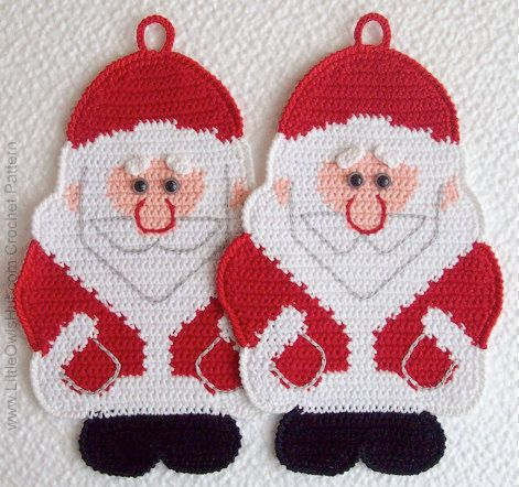 039 Santa Claus Crochet Pattern, Father Christmas, Father Frost, Decor or Potholder - by Zabelina #christmascrochetpatterns