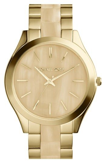 Free shipping and returns on MICHAEL Michael Kors Michael Kors 'Slim Runway' Round Bracelet Watch, 42mm at Nordstrom.com. Stick indexes on a smart, clean dial give sophisticated style to a gold-plated bracelet watch with cool resin inlays.