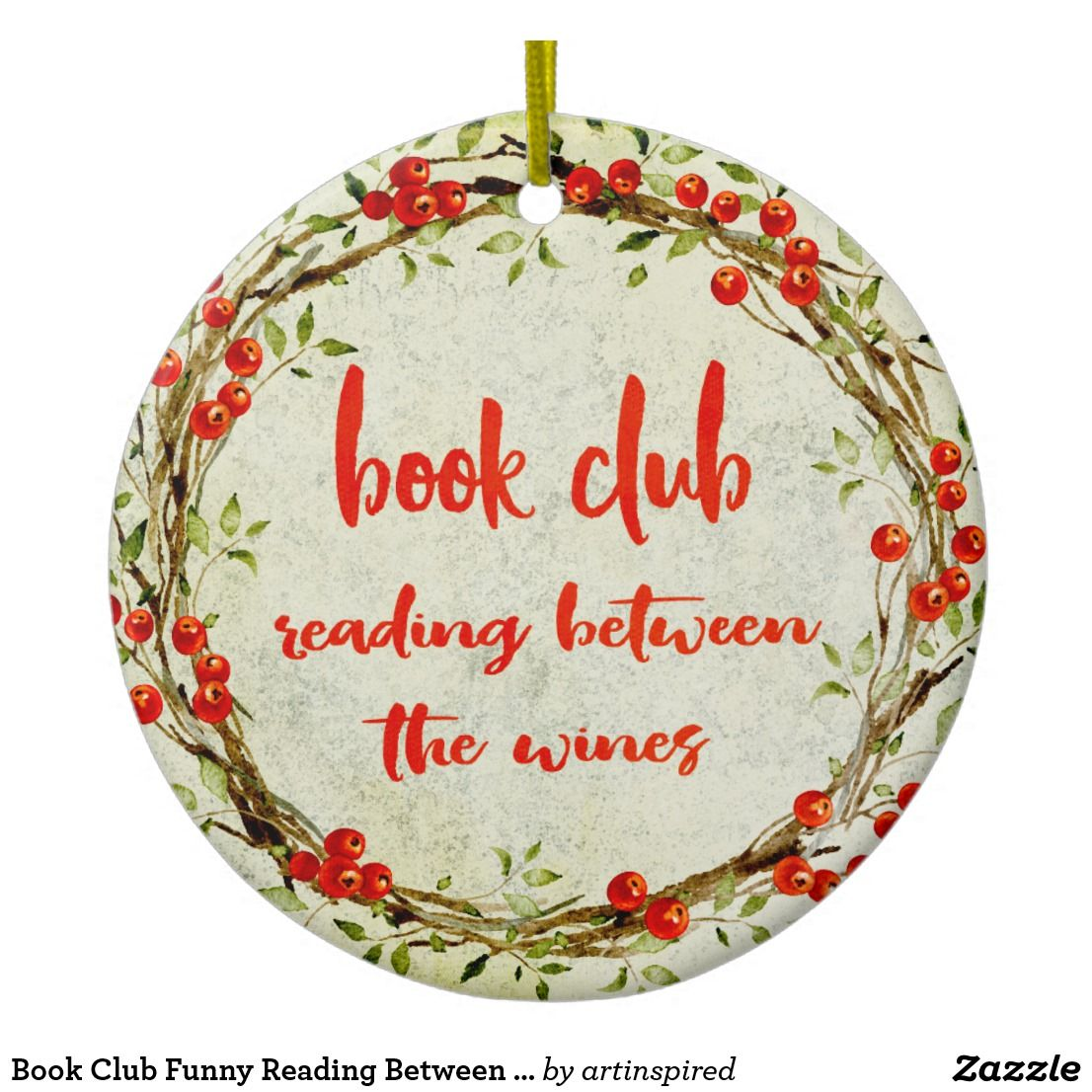 Book Club Funny Reading Between the Wines Holiday Ceramic ...
