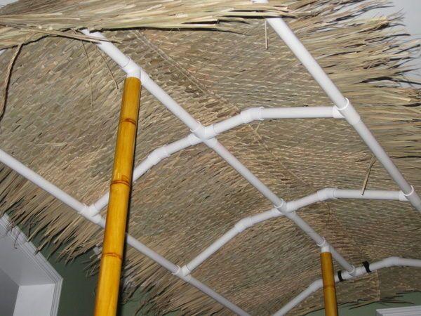 Pvc tiki bar tiki bars faux bamboo and canopy - Bar canopy designs ...