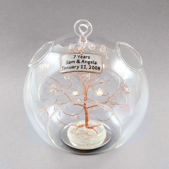 Copper Wedding Gifts: 7th Anniversary Gift Personalized Ornament Copper With By