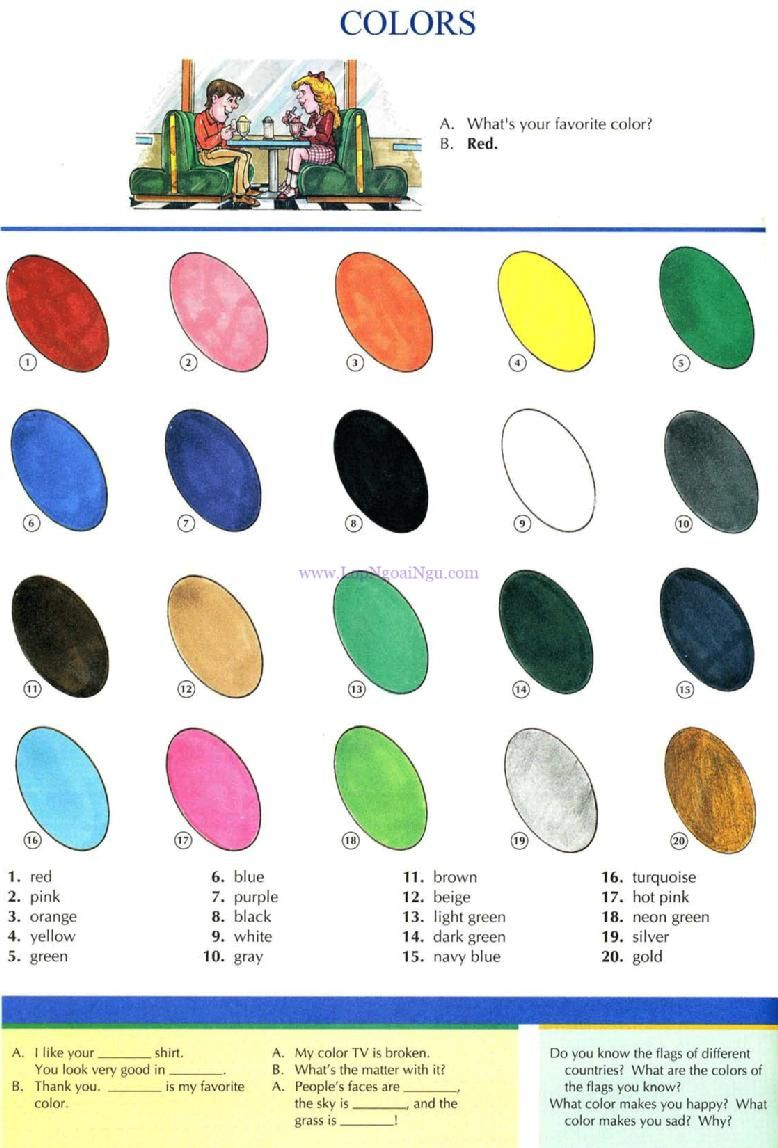 52 colors picture dictionary english study explanations